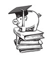 piggy bank in graduation hat on stack of books vector image vector image