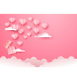 pink paper gift box open with heart and sky cloud vector image