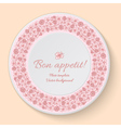 Plate template with pink clover ornament vector image