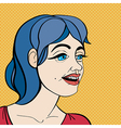 pop art blue hair girl vector image