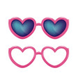 realistic eyeglasses heart shape photobooth vector image