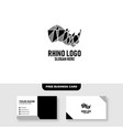 rhino logo template free business card mockup vector image