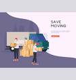 save moving house mens with cardboard boxes vector image