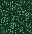 seamless clover outline background vector image vector image