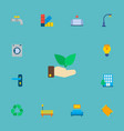set of urban icons flat style symbols with palette vector image