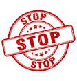 stop red grunge round vintage rubber stamp vector image