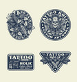 tattoo emblems labels and t-shirt graphic set vector image vector image