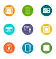 technical component icons set flat style vector image vector image