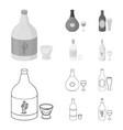 tequila cognac beer vodkaalcohol set vector image