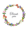 thank you spring flowers wreath floral card with vector image vector image