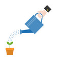 hand holding watering can watering plant vector image