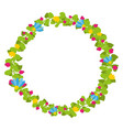 colorful spring floral circle with blue and yellow vector image