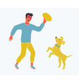 a boy running with his pet dog vector image vector image