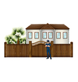 A policeman in front of the house vector image
