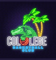 basketball college neon design or emblem vector image