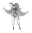 beautiful woman with wings on high heels vector image