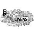 bed linens text word cloud concept vector image vector image