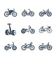 bicycles icon set symbols vector image vector image