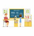 biology lesson at school - modern cartoon people vector image