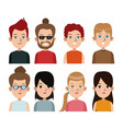 cartoon young people community portrait differents vector image