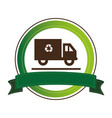 circular emblem with recycling truck and ribbon vector image