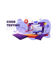 code testing functional test for pc cartoon banner vector image vector image