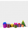 colourful gift boxes on white snow isolated vector image