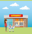 consumer with shopping cart of groceries vector image vector image