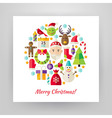Flat Style Circle Set of Merry Christmas Objects vector image vector image