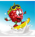 funny raspberry cartoon surfing on milk splashing vector image