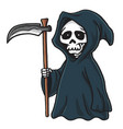 grim reaper cute cartoon skeleton halloween vector image
