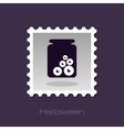Halloween eye glass jar stamp vector image vector image