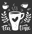 hand drawn silhouette a tea cups with vector image vector image