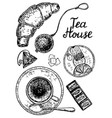 ink hand drawn style tea house set vector image vector image