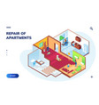 isometric apartment with repair workers repairman vector image vector image