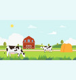 meadow landscape with farm and cow eating grass vector image vector image