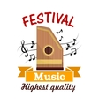 Music sign of folk musical instrument with notes vector image vector image