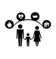 parents and son silhouettes with life icons vector image vector image