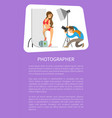 photographer and model in swimsuit in photo studio vector image
