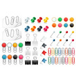pins paper clips push pins fasteners staple tack vector image