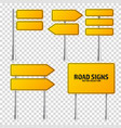 road yellow traffic signs set blank board with vector image