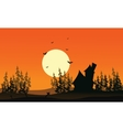 Scenery castle and spruce forest Halloween vector image vector image