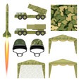 set military equipment military missile helmet vector image vector image
