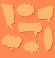 set of speech bubbles on a orange background vector image vector image