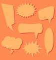 set of speech bubbles on a orange background vector image