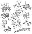 set sketch comics phrases and effects vector image vector image