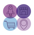 shopping cart with set icons vector image vector image