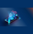 smartphone wifi appliances via internet vector image vector image