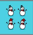 snowman set winter vector image vector image