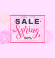 spring sale banner with rose flowers vector image vector image
